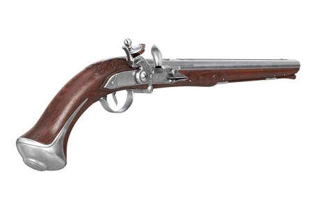 Pistol gun flintlock military handgun. 3D rendering