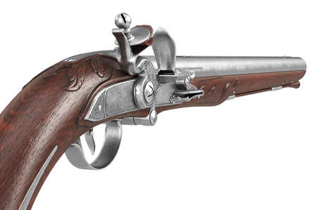 dueling pistol: Pistol gun old weapon metal collectible, close view. 3D rendering