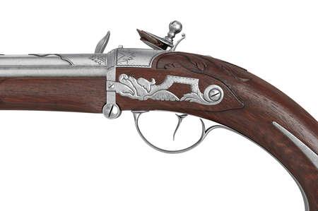 Pistol gun old flintlock cavalry handgun, close view. 3D rendering