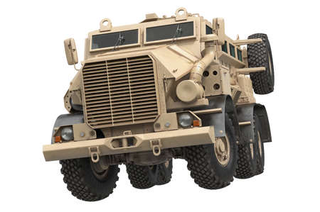 Truck military beige armored army transport. 3D rendering Stock Photo