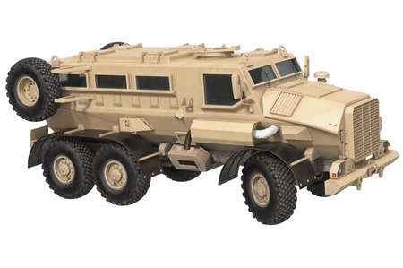 Truck beige armored transport defense vehicle. 3D rendering Stock Photo