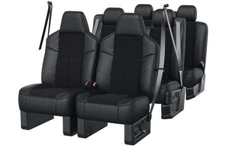 legroom: Car seat comfortable black leather. 3D rendering