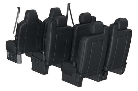 legroom: Car seat black modern safety. 3D rendering