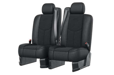 back belt: Car seat modern black with seatbelt. 3D rendering Stock Photo