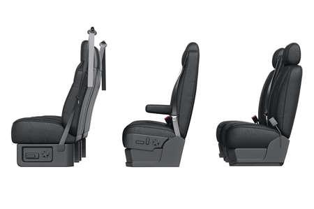 legroom: Car seat black leather, side view. 3D rendering