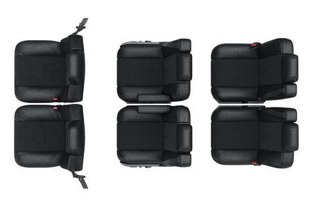 legroom: Car seat modern leather, top view. 3D rendering