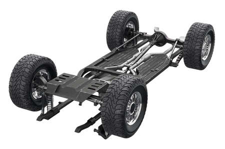 undercarriage: Chassis frame metal auto undercarriage. 3D rendering