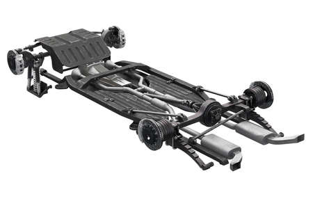 Chassis frame underbody with brake. 3D rendering Stock Photo