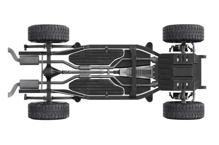 axle: Chassis frame dirt underbody, bottom view. 3D rendering Stock Photo