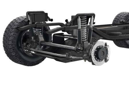 axle: Chassis frame suspension brake disk, close view. 3D rendering