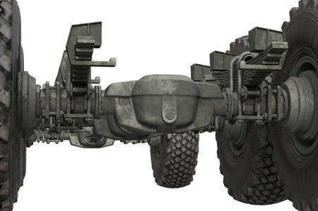 axle: Truck military undercarriage chassis frame, close view. 3D rendering