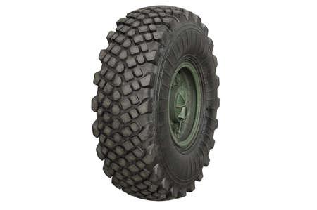 alloy: Car wheel military metal green disk. 3D rendering Stock Photo