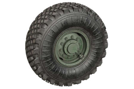 alloy: Car wheel rubber with green rim. 3D rendering