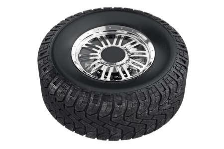 alloy: Car wheel black rubber chrome disk rim. 3D rendering