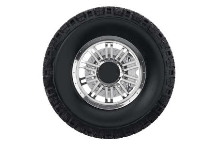 Car wheel black rubber with brake, front view. 3D rendering