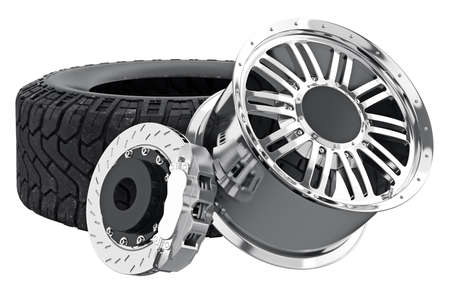 alloy wheel: Car wheel black with chrome rim and brake. 3D rendering