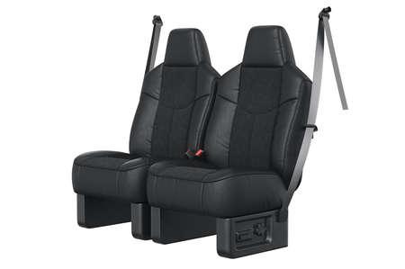 legroom: Car seat black leather luxury comfortable. 3D rendering
