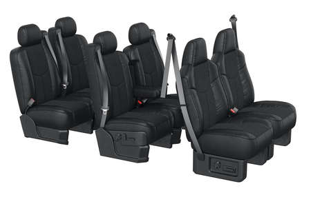 legroom: Car seat modern with safety belt. 3D rendering