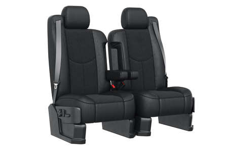 Car seat luxury leather with seatbelt. 3D rendering Stock Photo