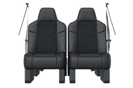 legroom: Car seat black leather, front view. 3D rendering Stock Photo