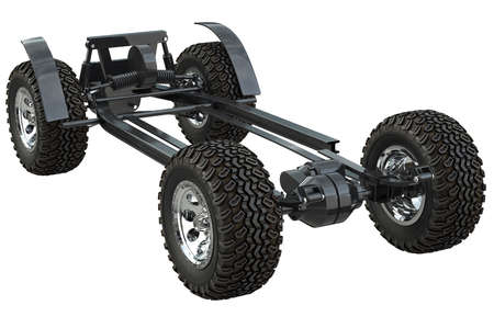 undercarriage: Golf car chassis suspension undercarriage. 3D rendering Stock Photo