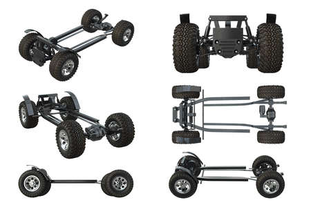 Car Chassis Frame With Wheels Set. 3D Rendering Stock Photo, Picture ...