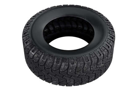 Tire black rubber dirt vehicle. 3D rendering
