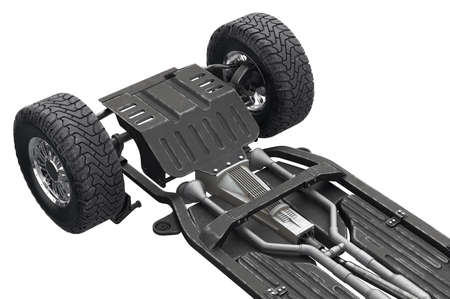 Chassis frame automobile underbody with wheel, close view. 3D rendering