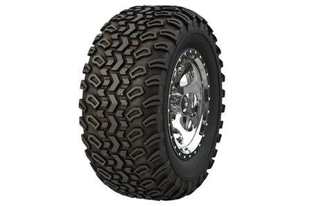 alloy: Wheel car black rubber chrome disk rim. 3D rendering