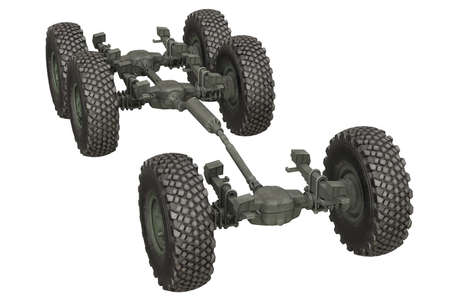 undercarriage: Truck military chassis suspension undercarriage. 3D rendering
