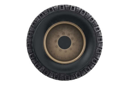 alloy: Car wheel military with disk, back view. 3D rendering