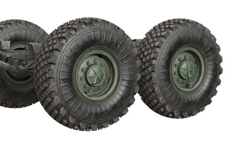 Truck military underbody with wheels, close view. 3D rendering