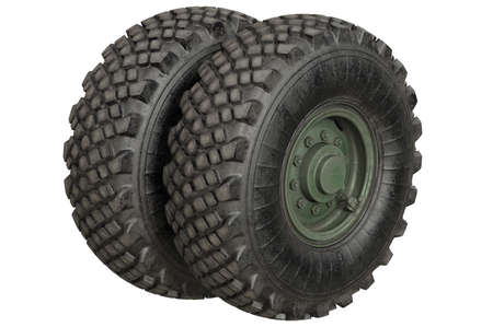 Car wheel rubber with green rim. 3D rendering