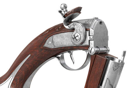Pistol gun classic weapon military security, close view. 3D rendering
