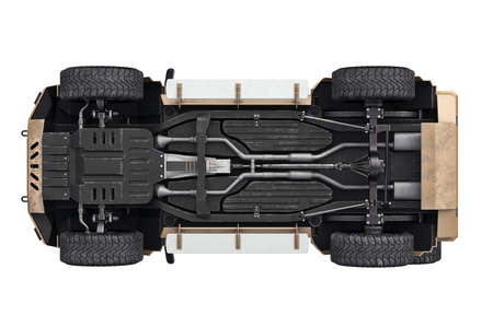 shiny car: Suv car suspension transport 4wd, bottom view. 3D rendering