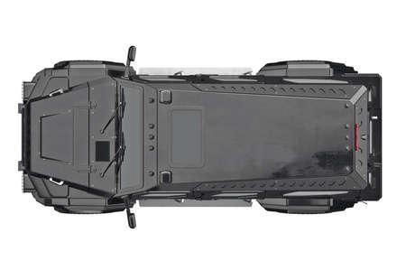 shiny car: Suv car automotive, top view. 3D rendering