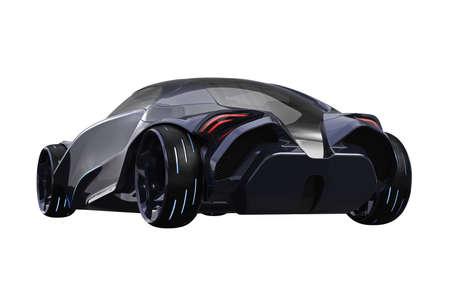 Auto concept futuristische metalen supercar. 3D-weergave Stockfoto - 84043922