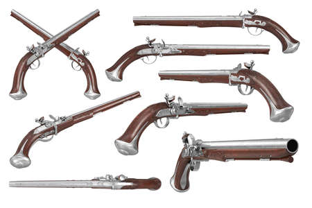 flintlock: Pistol gun weapon brown wooden old flintlock set. 3D rendering