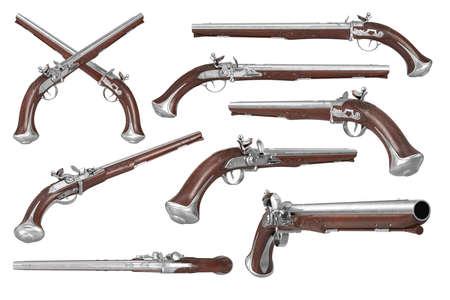 Pistol gun weapon brown wooden old flintlock set. 3D rendering