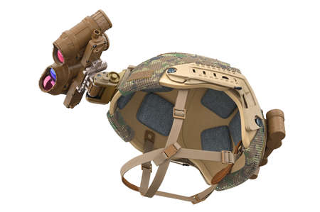 Helmet special military camouflage protection. 3D rendering