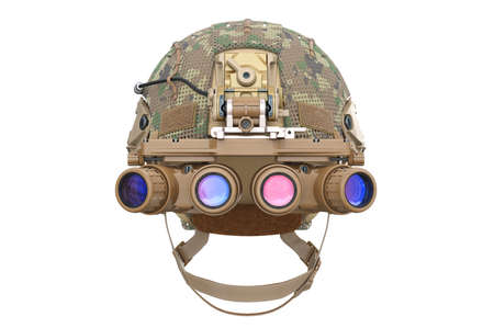 Helmet night goggles camouflage dressing, front view. 3D rendering 스톡 콘텐츠