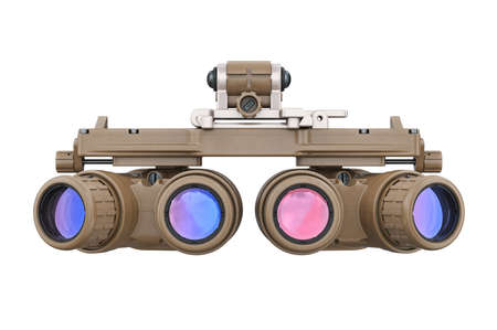 Night military vision goggles, front view. 3D rendering