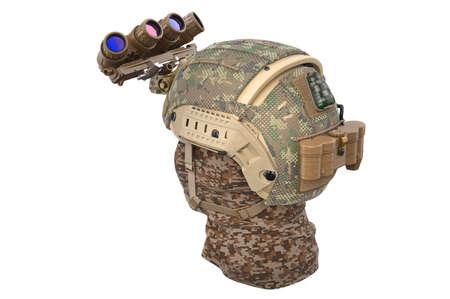 Helmet night vision with bandage. 3D rendering