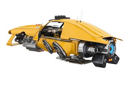 未来の車のユニークなタービン エンジン。3 D レンダリング