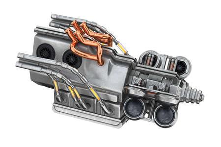 Sci-fi concept engine part machine. 3D rendering Stock Photo
