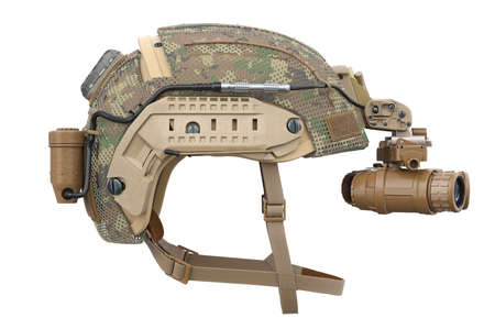 Helmet vision military device, side view. 3D rendering Stock Photo