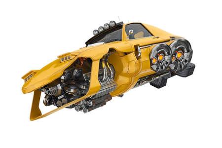 Future flying automobile futuristic engine. 3D rendering Stock Photo