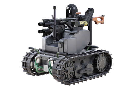 Military remote metal robot with camera. 3D rendering