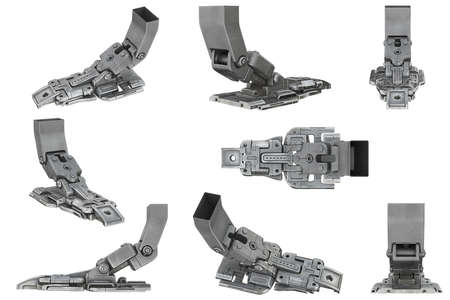 Sci-fi metal mechanical robot leg set. 3D rendering