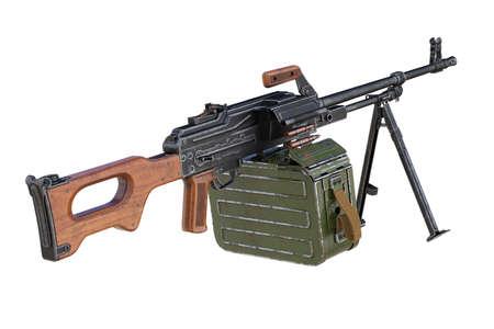 Gun machine black military with magazine. 3D rendering Stock Photo